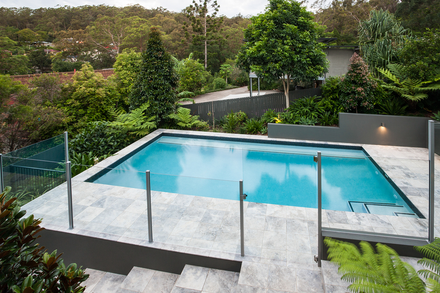 concrete stone pool deck