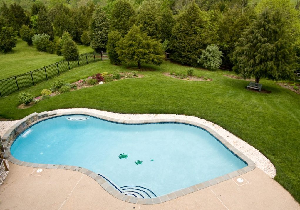 top view of a pool deck
